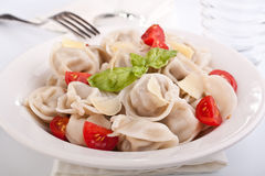 Tortellini with tomatoes and basil Royalty Free Stock Photos