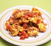 Tortellini with tomatoes Royalty Free Stock Image