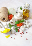 Tortellini and vegetables on white wooden background Stock Image