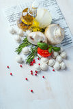 Tortellini and vegetables on white wooden background Stock Photography