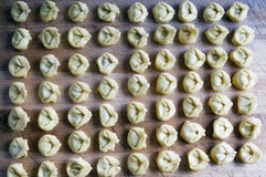 Tortellini on a wooden board. Fresh tortellini on a wooden board, a typical food of Italian cuisine Stock Images