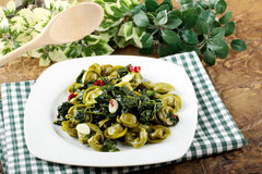 Tortellni with spinach and butter Royalty Free Stock Photography