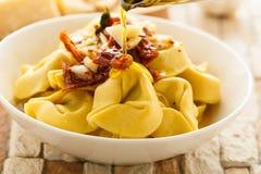 Tortelloni aglio e olio Obrazy Stock