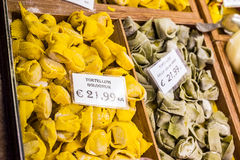Tortelloni in a market of Bologna. Emilia-Romagna. Italy. Royalty Free Stock Photo