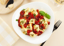 Tortelloni pasta meal from above Stock Photos