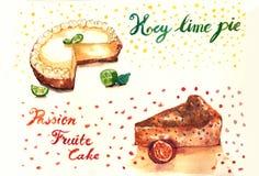 Torten- und Maracujakuchenaquarellillustration der echten Limette Stockfoto