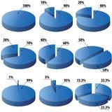 Tortendiagramme in der blauen Farbe Lizenzfreies Stockfoto