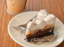 Tortenkuchen mit Banane und Schokolade Stockfoto