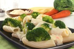 Tortiglione with broccoli cheese sauce Stock Photos