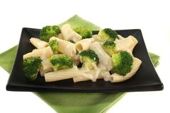 Tortiglione with broccoli cheese sauce Stock Images
