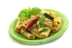 Tortiglione with fiery chili and zucchini Royalty Free Stock Photos