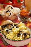 Tortiglioni pasta with mushrooms Stock Image