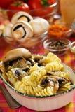 Tortiglioni pasta with mushrooms Stock Image