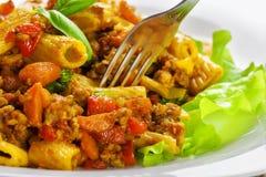 Tortiglioni with sauce bolognese Stock Photography