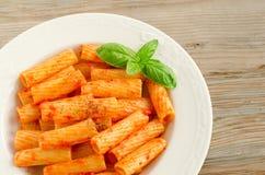Tortiglioni with tomato sauce Royalty Free Stock Photos