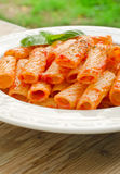 Tortiglioni with tomato sauce Royalty Free Stock Images