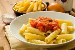 Tortiglioni with tomato sauce Stock Photos