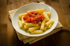 Tortiglioni with tomato sauce Stock Images