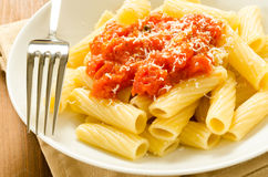 Tortiglioni with tomato sauce Stock Photo