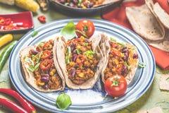 Tortilla και επάνδρωση με το κρέας και τα λαχανικά στοκ εικόνες με δικαίωμα ελεύθερης χρήσης