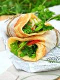 Tortilla сыра с овощами и мясом Стоковая Фотография RF