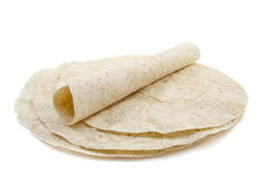 Tortilla. Pan cakes isolated on a white background royalty free stock photos