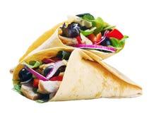 Tortilla avec de la viande et des légumes images stock