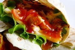 Tortilla avec du fromage et la salade verte Photo libre de droits