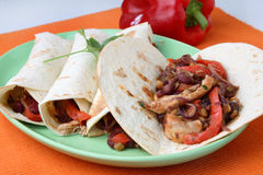 Tortilla with chicken meat Royalty Free Stock Photography