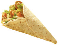 Tortilla Chicken wrap. Chicken and vegetables wrapped in a tortilla oriantal stile Royalty Free Stock Photography
