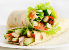 Tortilla chicken wraps Stock Photography