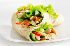 Tortilla chicken wraps Stock Images
