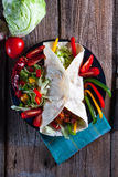 Tortilla with chili. Tortilla with chili con carne Stock Photography