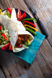 Tortilla with chili. Tortilla with chili con carne Royalty Free Stock Photos