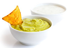 Tortilla chip and dips. Royalty Free Stock Image