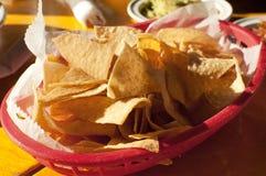 Tortilla-Chip im Schnellimbißmexikanerrestaurant Stockfotos