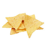 Tortilla chips. Corn tortilla chips isolated on white Stock Photos