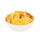 Tortilla chips. Bowl of tortilla chips on white Stock Images