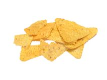 Tortilla chips. Closeup of tortilla chips on white background Royalty Free Stock Photos