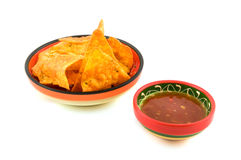 Tortilla chips with chili sauce Royalty Free Stock Image