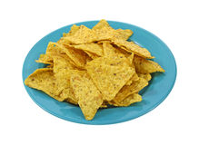 Tortilla chips on colorful dish Royalty Free Stock Photos