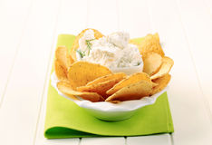 Tortilla chips and curd cheese Stock Image
