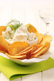 Tortilla chips and curd cheese Royalty Free Stock Image
