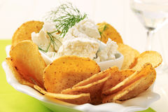 Tortilla chips and curd cheese Royalty Free Stock Photos