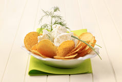 Tortilla chips and curd cheese Stock Photo