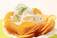 Tortilla chips and curd cheese Royalty Free Stock Photography