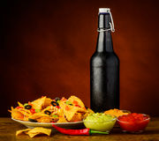 Tortilla chips, dip and beer Stock Images