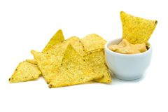 Tortilla chips with dip isolated on white background royalty free stock images