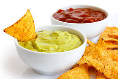 Tortilla chips and dips. stock photography