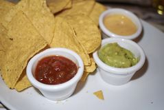 Tortilla chips with dips. Served in Italy royalty free stock photos